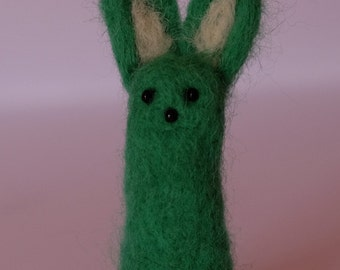 Needle Felted Bunny Rabbit. Cute quirky handmade unique character. Green. Dave!