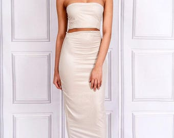 Kate - Choker Strapless Tube Top - Stone