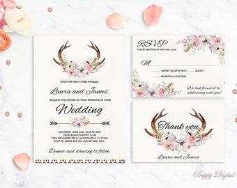 Boho invitación imprimible asta boda invitación florales de la boda invitación boda rústica país boda invitan a las cornamentas de la boda conjunto