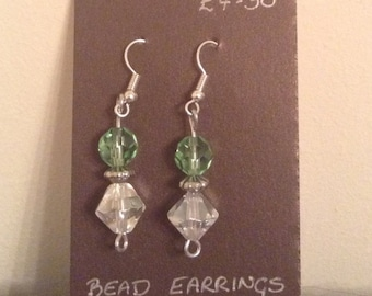 Green & Clear Beaded Earings