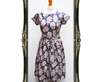 Vintage Inspired Retro Hamsa Hand of Fatima Print Tea Dress