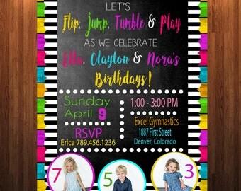 Gymnastics Birthday Party Invitation, Gymnastics Party, Multiple Children's Birthday Party, Siblings Birthday Party, Gymnastics Birthday