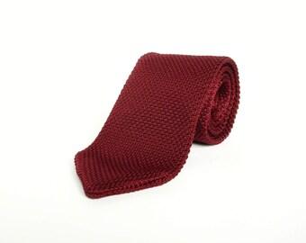 Burgundy maroon knitted tie wedding tie gift for men groomsmen maroon knitted tie