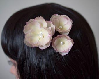 Silk flower hair pins | Fabric hair flowers | Silk flowers