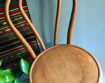 Vintage Bentwood Honey-Toned Thonet Chair - Made in Romania - Vintage Mid Century Modern Furniture