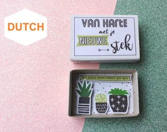 Grappig Kaartje, Housewarming, Dutch Card, Gefeliciteerd, Nieuwe woning, Hoera Verhuisd, Planten In Pot, Klein Doosje, Kleine Planten
