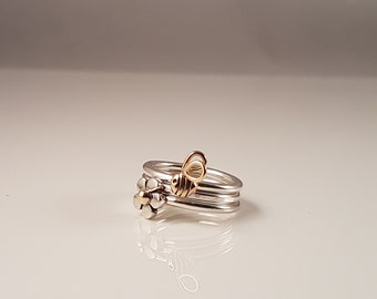 Hand made stacking bee ring - 9ct yellow gold & silver