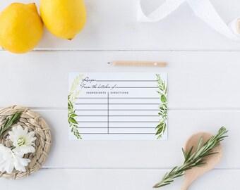 Printable Recipe Card, Recipe Cards , Recipe insert for Bridal Shower, Digital Printable, Greenery Bridal Shower