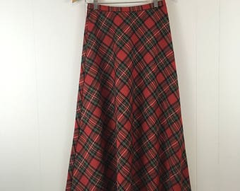 Vintage Red Plaid Maxi Skirt Grunge '90's M