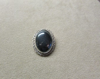 Brilliant Hematite large STERLING SILVER pin/pendant with an elegant rope wire design