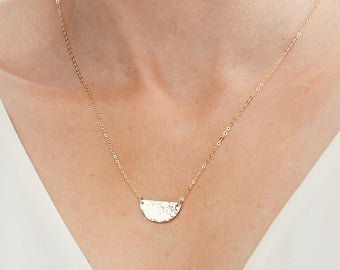 Hammered Texture - Medium Half Moon Disc Necklace -Dainty Half Circle- Geometric Shape-Gold Filled, Rose Gold Filled, Sterling Silver-CG251N
