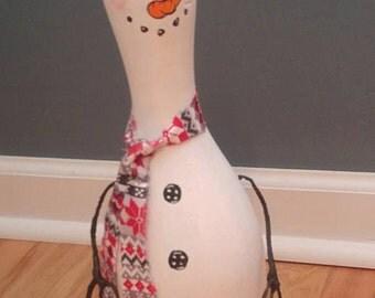 Snowman Bowling Pin Christmas Decoration