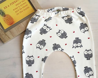 Hipster baby cloths | baby pants | baby gifts | fun baby clothing | owls baby pants