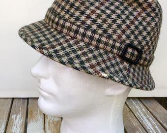 Men's Hat, Vintage Hat, Men's Walking Hat, Tweed Hat, Plaid Hat, 1950's and 1960's Hat, British Men's Walking Hat, Beige Tweed Hat