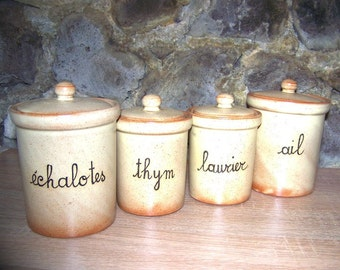 French vintage stoneware kitchen spice jars