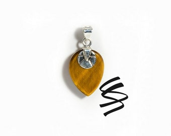 Tiger's Eye Tribal Pendant Sterling Silver Jewelry Tigers Eye Necklace Natural Stone Healing Crystals Tigers Eye Stone Gemstone Jewelry Gift