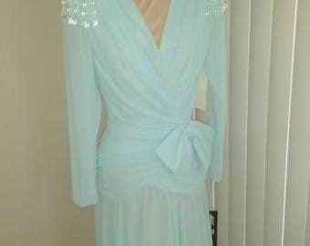 Chiffon Evening, Party, Formal Dress, PALE AQUA, SIZE 8