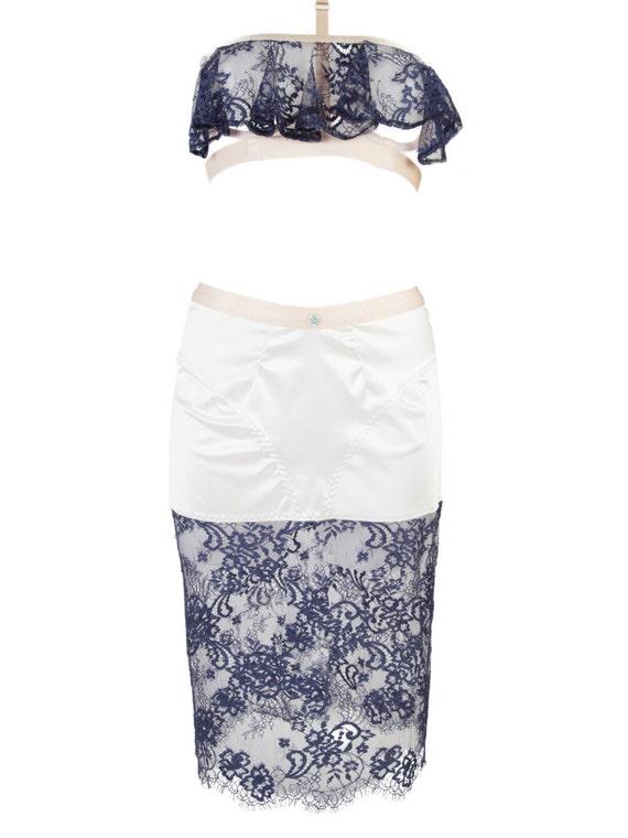 Handmade Swarovski® embellished Keyhole Lace Skirt, Made-to-Order/Bespoke/Custom UK