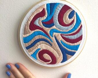 "Swirl-o-rama {6"" Embroidered Hoop} // embroidery art, embroidery hoop, embroidery"