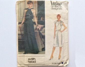 B32 1980s Edith Head Dress Sewing Pattern : Vogue American Designers 2692