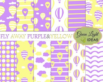 Hot Air Balloons Backgrounds, Purple and Yellow Digital Papers, Baby Shower Digital Backgrounds, Kids Papers Commercial Use Birthday Papers
