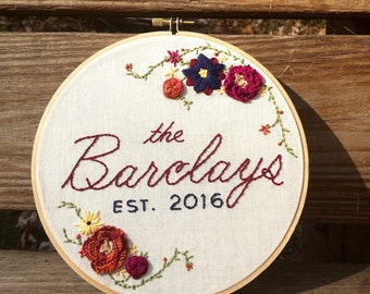 Custom Surname Embroidery Hoop Art Wedding / Anniversary / Engagement Gift Decor