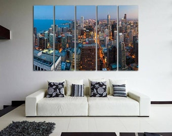 Chicago City Chicago Canvas Chicago skyline Chicago print Chicago photo Chicago poster Chicago wall art Chicago wall decor Chicago Skyline