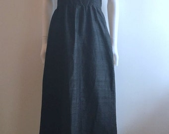 Vintage Dress / Strapless / Black / Silk / Norman Hartnell London / UK 10