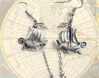 "Earrings ""Wind of Wanderings"". Nautical sail boat earrings with an anchor on a chain"