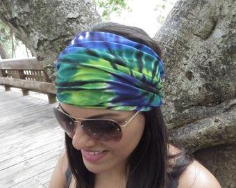 Tie Dye Headband, Running Headband, Blue Wide Headband, Yoga Headband, Fitness Headband, Hippie Headband, Bohemian Turban, Women Headband