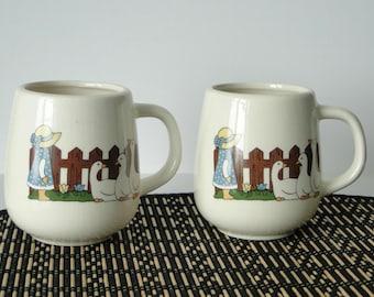 Set of Two, Vintage, Stoneware, Coffee Mugs, Vintage Mugs