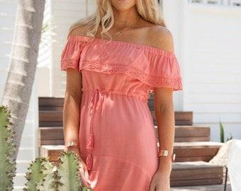 Off The Shoulder Ladies Summer Dress Boho Chic Clothing