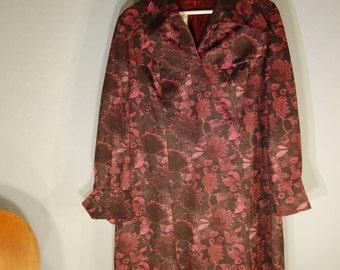 Dress 50's true vintage XL Black magenta floral black dress long sleeve