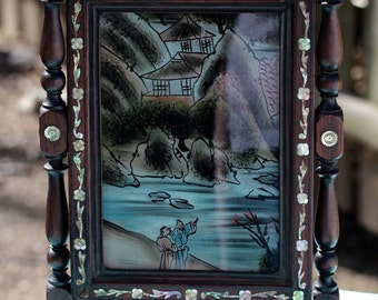 Vintage Asian-themed Reverse Painting with Swivel Frame and Mother of Pearl Inlay