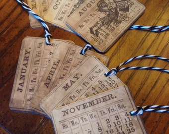 7 Calendar Gift Tags, Holiday Gift Tags, Birthday Gift Tags, Mad Hatter Gift Tags