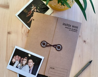 Instax Photo Album Wide for 32 Photos. Instax Wide Film Album for Instax Wide 200, 210, 300. Instant Photo Album. Instax Album. Dark Brown.