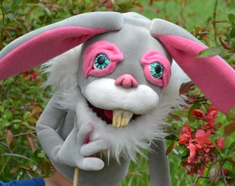 Professional Hand Puppet Rabbit, Foam puppet, Unique Custom Theater Puppets