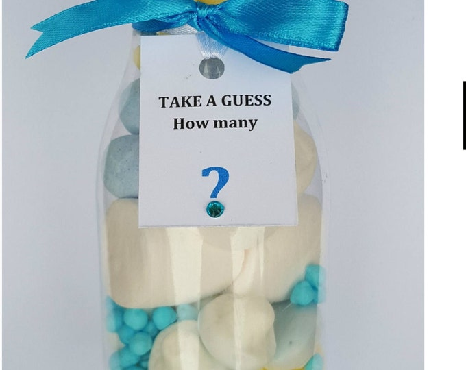 Kids party games. Guess how many sweets in the jar
