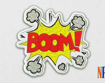 INSTANT DOWNLOAD - Comics sign Boom! Machine embroidery design. Embroidery file