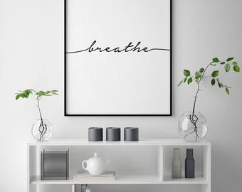 Yoga Wall Art inhale exhale wall print yoga wall art typography wall art