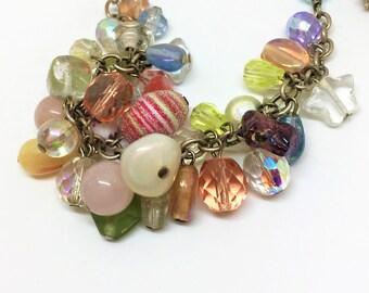 Designer Jim Bunch Necklace Orig Tag 115.00 Semi-Precious Sterling Stone Glass Cluster Vintage Adjustable 18 1/4 inch