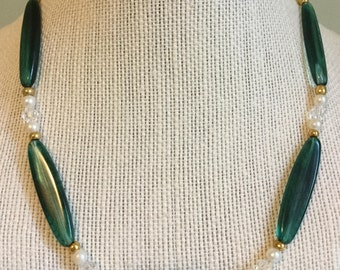 """Upcycled Jewelry """"Green with Envy"""" Beaded Necklace - Made with Vintage/ Recycled Materials"""