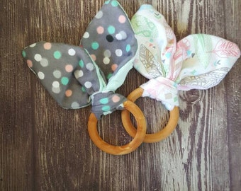 Wooden Baby Teether / Bunny Ear Teether / Natural Teething Toy