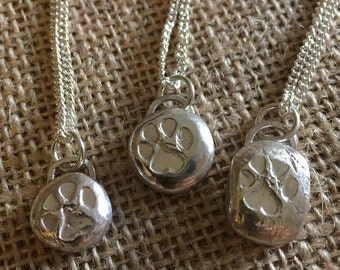Sterling Silver Rustic Paw Print Necklace