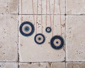 Evil Eye Necklace - Protection Necklace - Gold Evil Eye Necklace - Layering Necklace - Sterling Silver Pendant Nazar Necklace - S