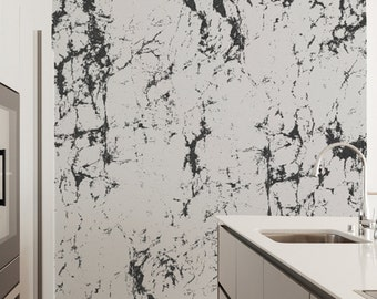 Off-White & Black Marble Wallpaper, Home and Office Wall Decor, Natural Interiors #IAN