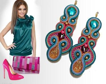 earrings, soutache earrings, long earrings, color earrings, jewelery, ornaments soutache, soutache jewelery