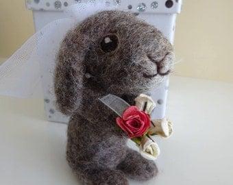 Needle felted bunny bride