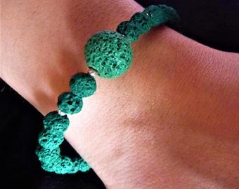 Lava Bracelet. Green bracelet. Dark Green Bracelet. Silver Bracelet. Greek Bracelet. Gift for her. Handmade Bracelet. Handcrafted Bracelet.