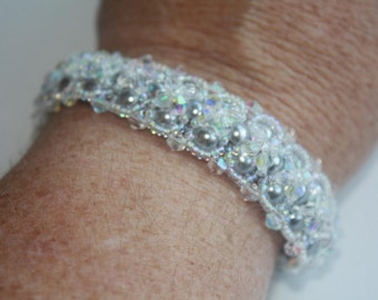 Pearl and Crystal Bracelet- One Bracelet with Two Different Looks.Pearls on one side,Crystals on other.Two looks one Bracelet,Wedding Gift